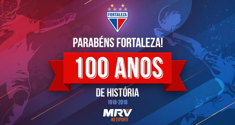 imagem de comemoração aos 100 anos de história do time de futebol Fortaleza