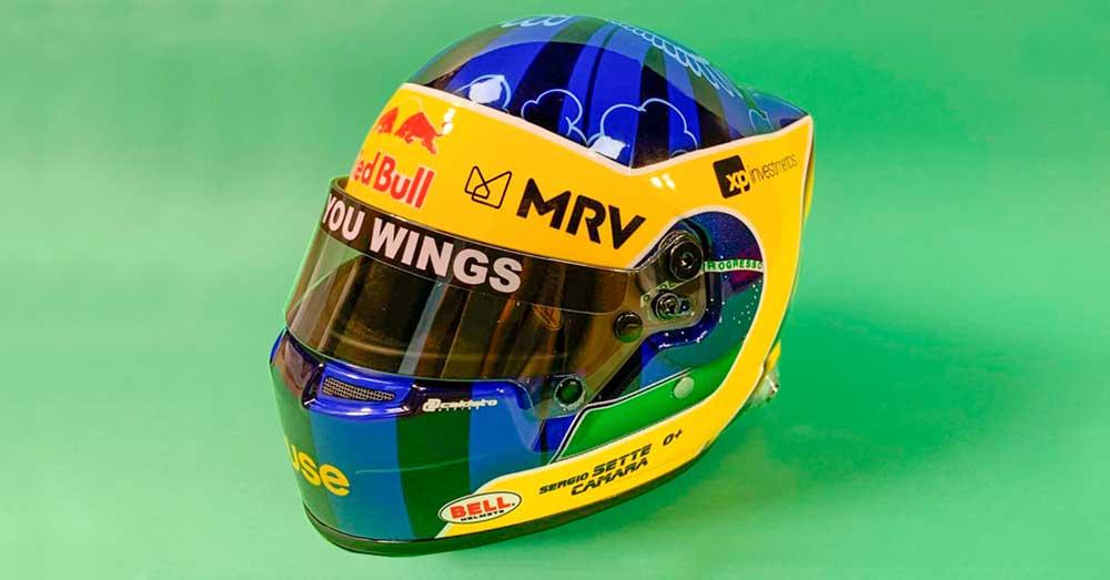 Mini capacete temático do Serginho Sette Câmara na Fórmula E